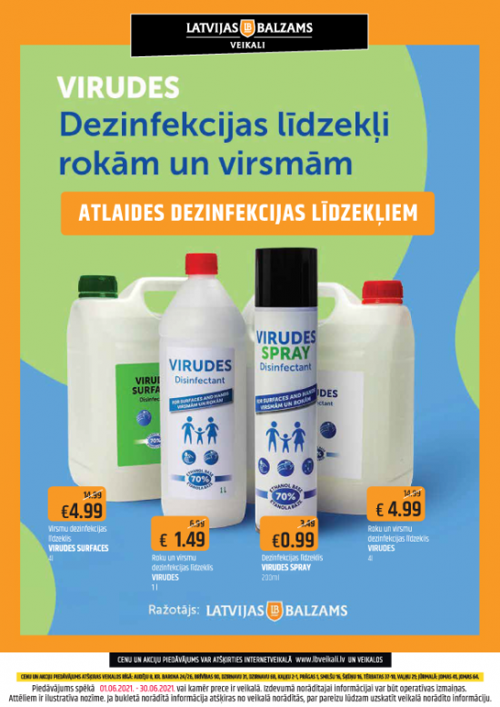 Latvijas balzams veikalu dezinfekcijas līdzekļu akciju piedāvājums jūnijā