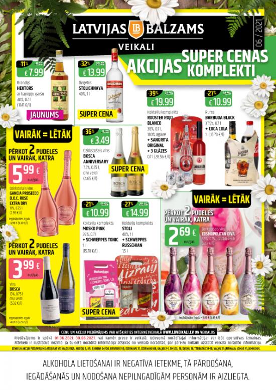 Latvijas balzams veikalu avīze ar akciju piedāvājumiem jūnijā (cenas var atšķirties no cenām e-veikalā)