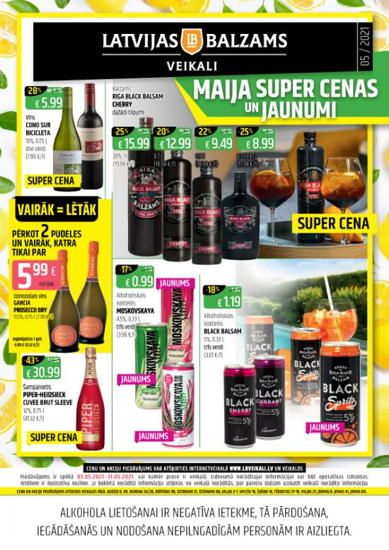 Latvijas balzams veikalu avīze ar akciju piedāvājumiem maijā (cenas var atšķirties no cenām e-veikalā)