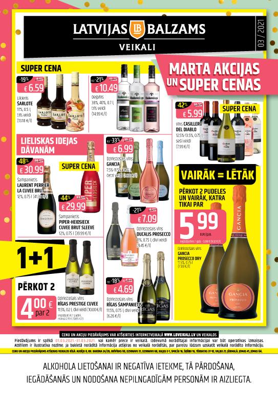 Latvijas balzams veikalu avīze ar akciju piedāvājumiem martā (cenas var atšķirties no cenām e-veikalā)