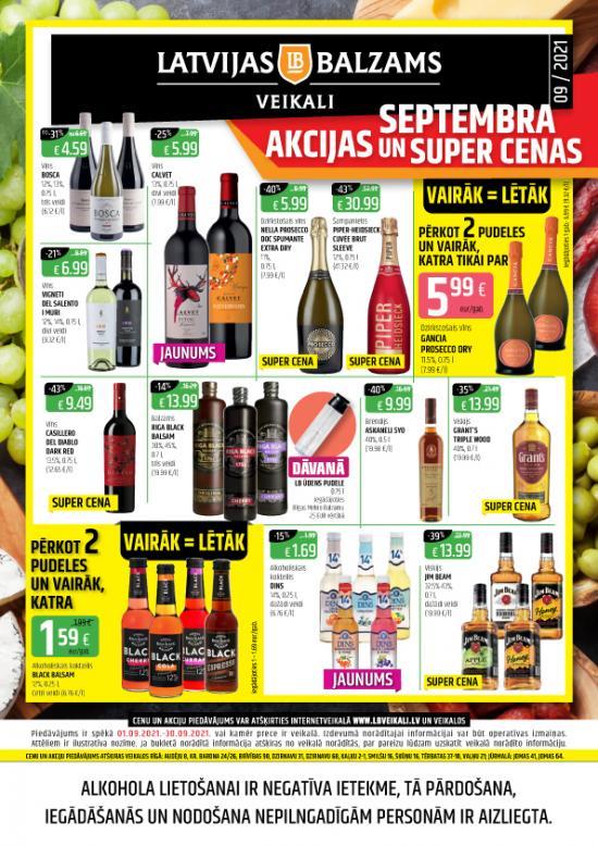 Latvijas balzams veikalu avīze ar akciju piedāvājumiem septembrī (cenas var atšķirties no cenām e-veikalā)