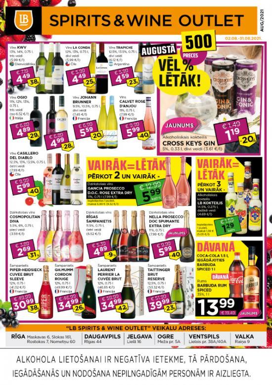 LB Spirits&Wine Outlet akcijas augustā (cenas var atšķirties no cenām e-veikalā)