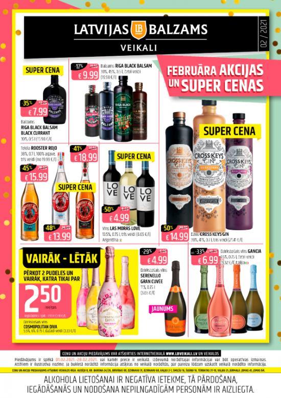 Latvijas balzams veikalu avīze ar  akciju piedāvājumiem februārī (cenas var atšķirties no cenām e-veikalā)