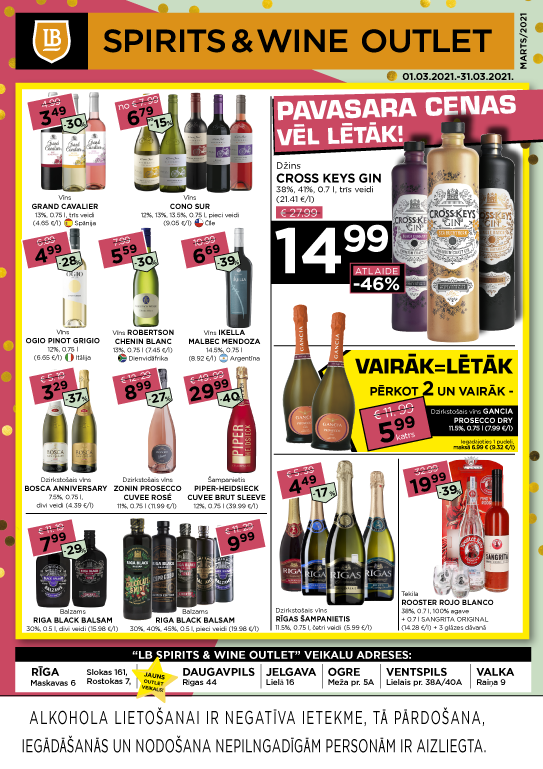 LB Spirits&Wine Outlet akcijas martā (cenas var atšķirties no cenām e-veikalā)