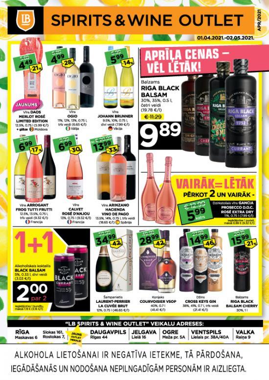 LB Spirits&Wine Outlet akcijas aprīlī (cenas var atšķirties no cenām e-veikalā)